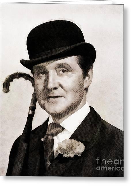 Patrick Macnee, Vintage Actor By John Springfield Greeting Card by John Springfield