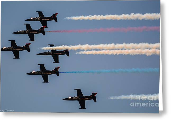 Patriot Aerial Demonstration Team Greeting Card by Tommy Anderson