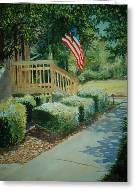 Patriot Next Door Greeting Card by Shirley Braithwaite Hunt