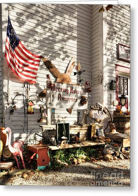 Patriotic Antiques In Metamora Greeting Card by Mel Steinhauer