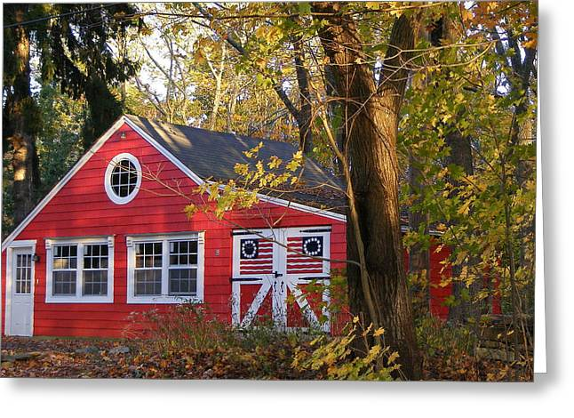Greeting Card featuring the photograph Patriotic Barn by Margie Avellino