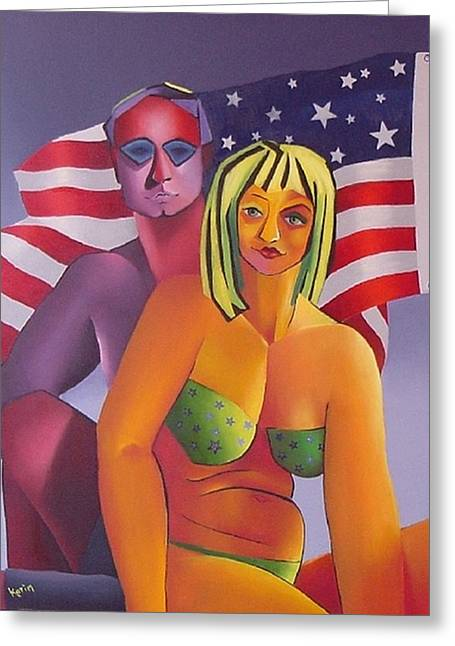 Greeting Card featuring the painting Patriotic Couple by Karin Eisermann