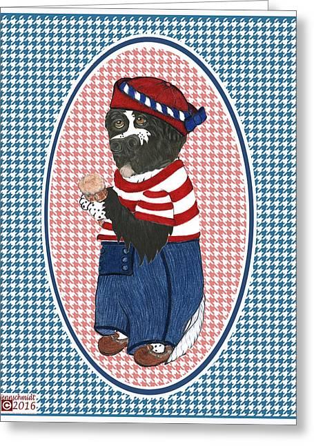 Patriotic Finny The Newf Greeting Card by Jenn Schmidt