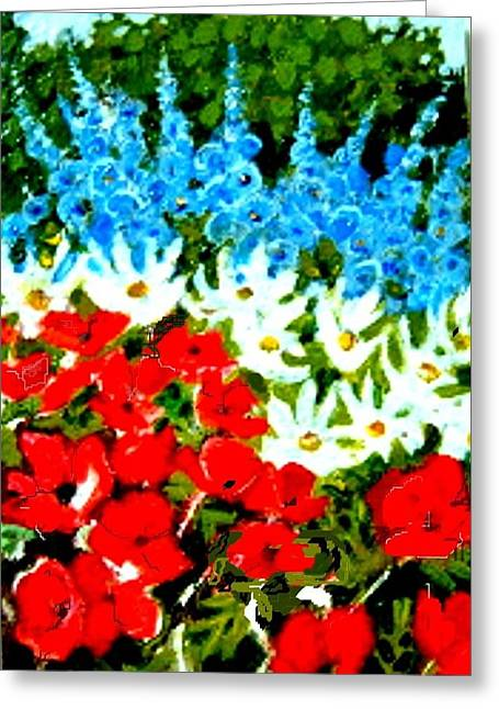 Greeting Card featuring the painting Patriotic Garden by Diane Ursin