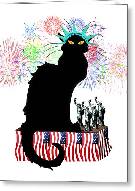 Patriotic Le Chat Noir Greeting Card by Gravityx9 Designs
