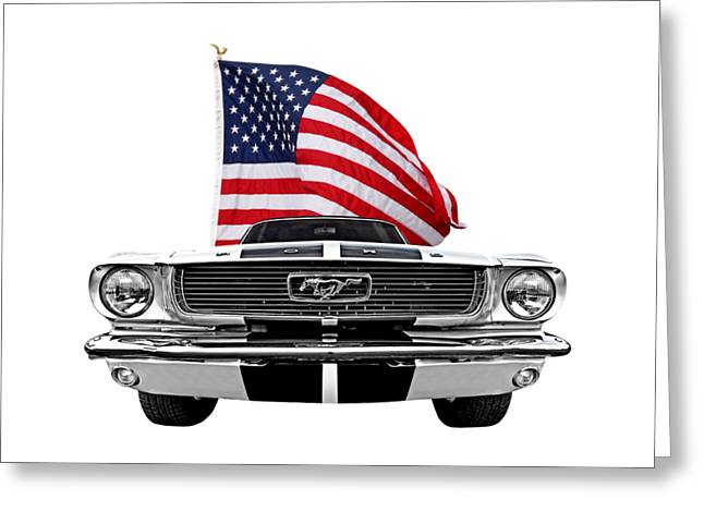 Patriotic Mustang On White Greeting Card by Gill Billington