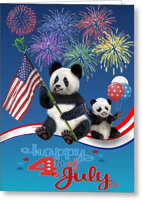 Patriotic Pandas Greeting Card