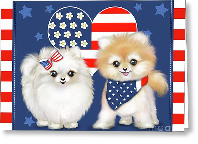 Greeting Card featuring the painting Patriotic Pomeranians by Catia Lee