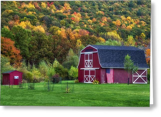 Patriotic Red Barn Greeting Card