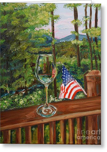 Star Spangled Wine - Fourth Of July - Blue Ridge Mountains Greeting Card