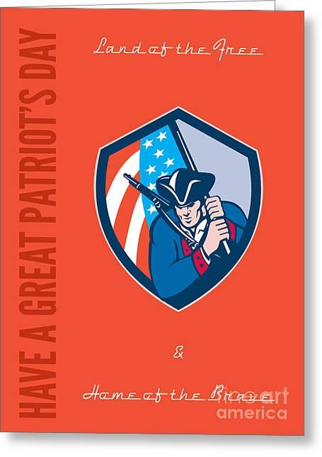 Patriots Day Greeting Card American Patriot Brandishing Flag  Greeting Card