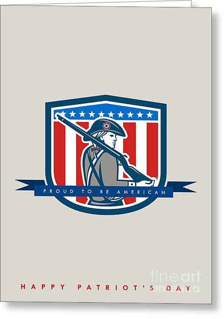 Patriots Day Greeting Card American Patriot Minuteman Musket Rifle Greeting Card