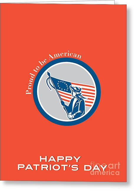 Patriots Day Greeting Card American Patriot Soldier Flag Circle  Greeting Card