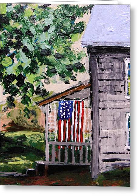 Flag Day Drawings Greeting Cards - Patriots Display Greeting Card by John  Williams
