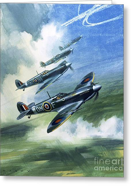 Patrolling Flight Of 416 Squadron, Royal Canadian Air Force, Spitfire Mark Nines Greeting Card by Wilf Hardy
