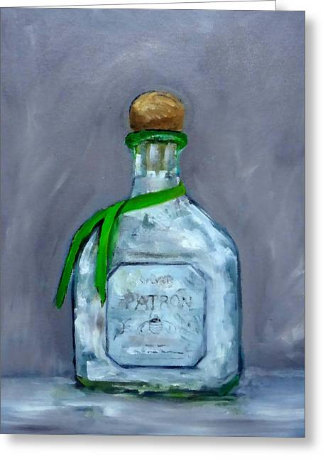 Patron Silver Tequila Bottle Man Cave  Greeting Card