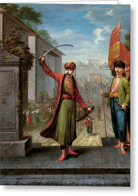 Patrona Halil Greeting Card by Jean Baptiste Vanmour