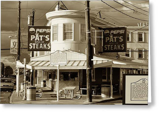 Pat's King Of Steaks - Philadelphia Greeting Card by Bill Cannon