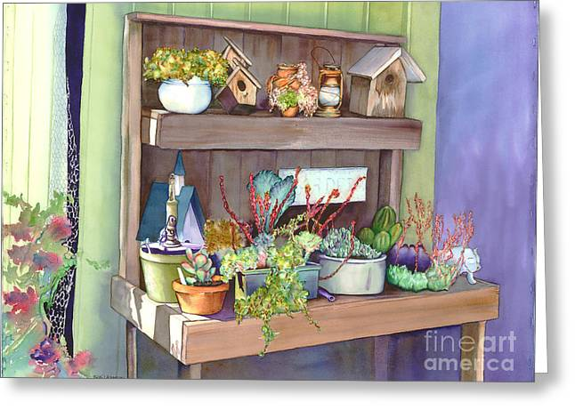 Pat's Potting Bench Greeting Card by Nicki Isaacson