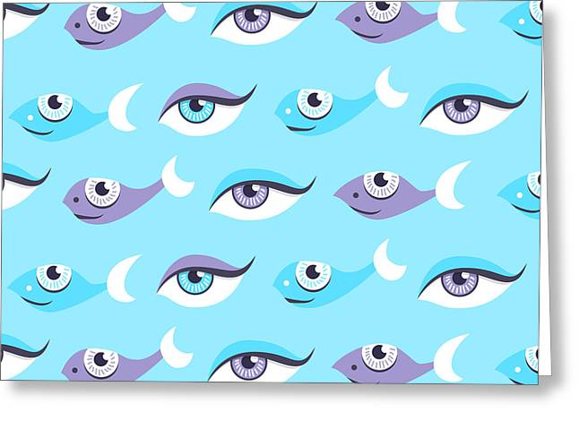 Pattern Of Blue Eyes And Fish In Sea Greeting Card