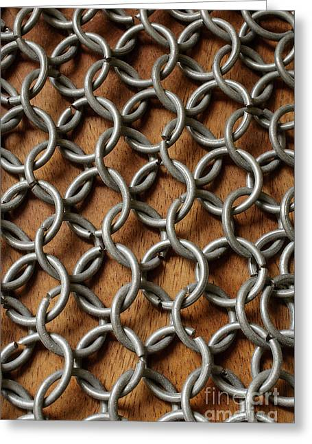 Pattern Of Metal Rings Greeting Card by Edward Fielding