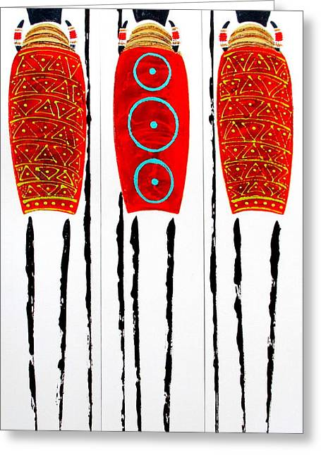 Patterned Masai Triptych Greeting Card