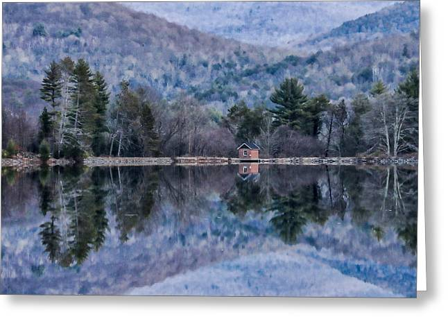 Patterns And Reflections At The Lake Greeting Card by Nancy De Flon