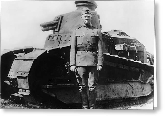 Patton Beside A Renault Tank - Wwi Greeting Card
