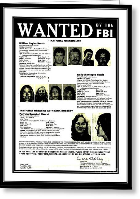 Patty Hearst Symbionese Liberation Army Wanted Poster September 1974 Greeting Card
