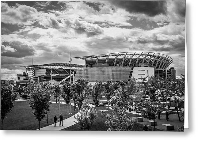 Paul Brown Stadium Black And White Greeting Card by Scott Meyer