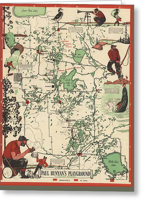 Paul Bunyan's Playground - Northern Minnesota - Vintage Illustrated Map - Cartography Greeting Card