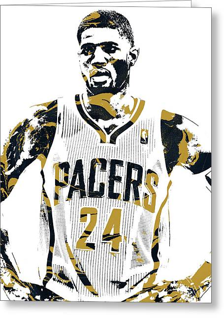 Paul George Indiana Pacers Pixel Art 1 Greeting Card