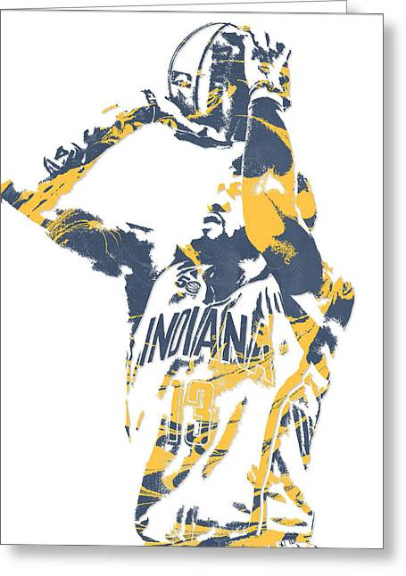 Paul George Indiana Pacers Pixel Art 12 Greeting Card