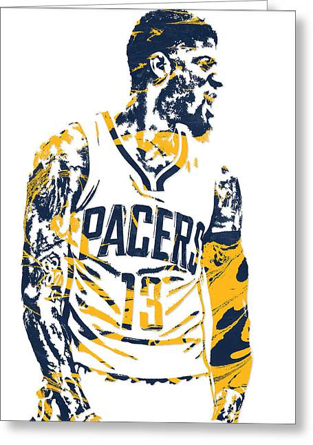 Paul George Indiana Pacers Pixel Art 4 Greeting Card