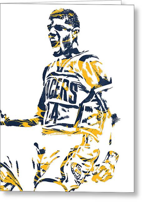 Paul George Indiana Pacers Pixel Art 5 Greeting Card