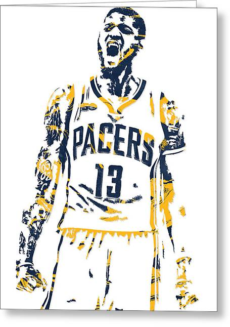 Paul George Indiana Pacers Pixel Art 6 Greeting Card