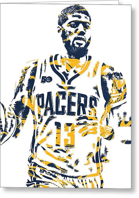 Paul George Indiana Pacers Pixel Art 7 Greeting Card