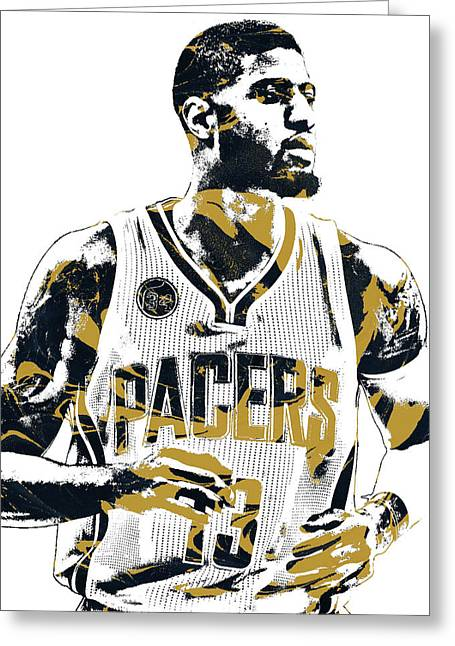 Paul George Indiana Pacers Pixel Art Greeting Card