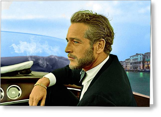 Paul Newman, Movie Star, Cruising Venice, Enjoying A Cuban Cigar Greeting Card