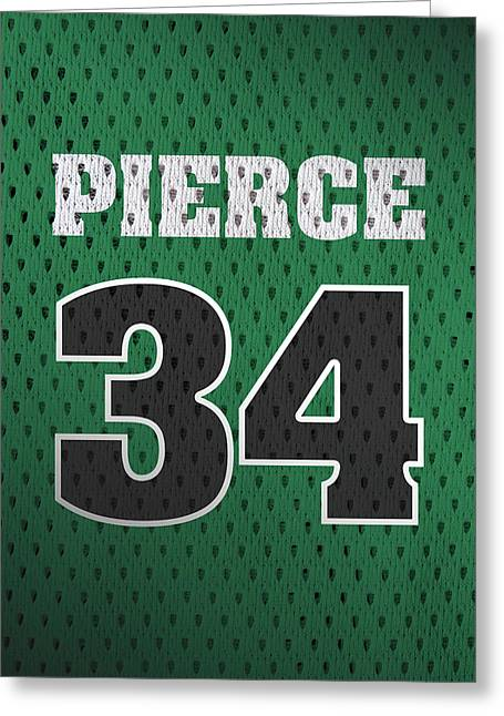 Paul Pierce Boston Celtics Number 34 Retro Vintage Jersey Closeup Graphic Design Greeting Card