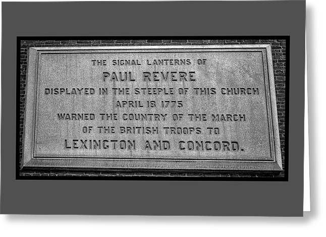 Paul Revere Paque At Old North Church Greeting Card