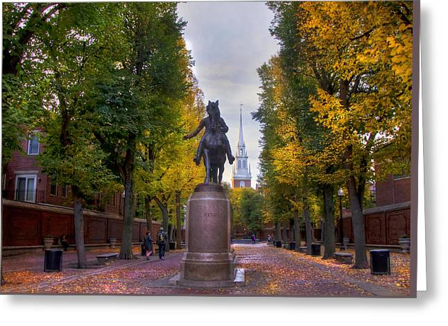Paul Revere And Old North Church - Boston Greeting Card by Joann Vitali