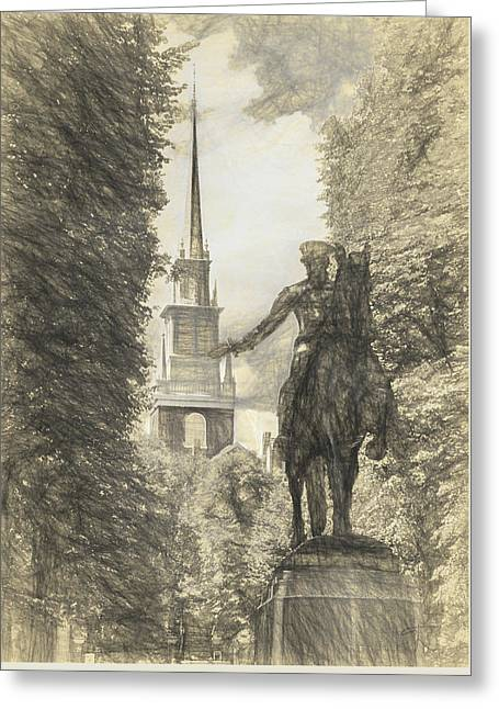 Paul Revere Rides Sketch Greeting Card