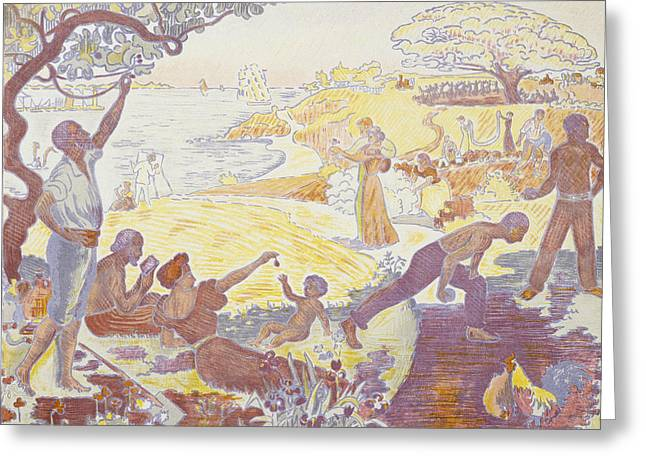 Paul Signac - In The Time Of Harmony - The Joy Of Life - Sunday By The Sea Greeting Card by Paul Signac