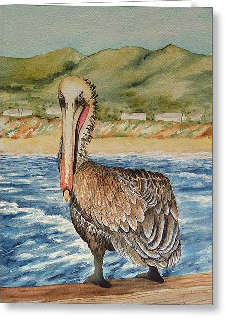 Greeting Card featuring the painting Paula's Pelican by Katherine Young-Beck