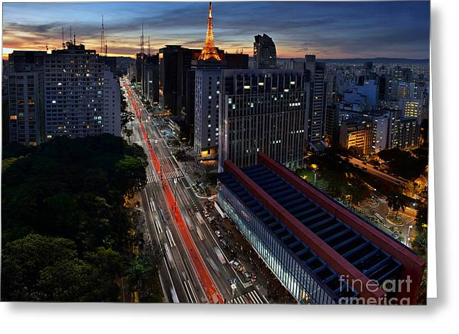 Paulista Avenue And Masp At Dusk - Sao Paulo - Brazil Greeting Card
