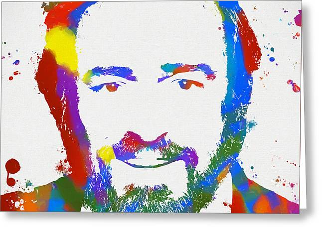 Pavarotti Colorful Paint Splatter Greeting Card by Dan Sproul
