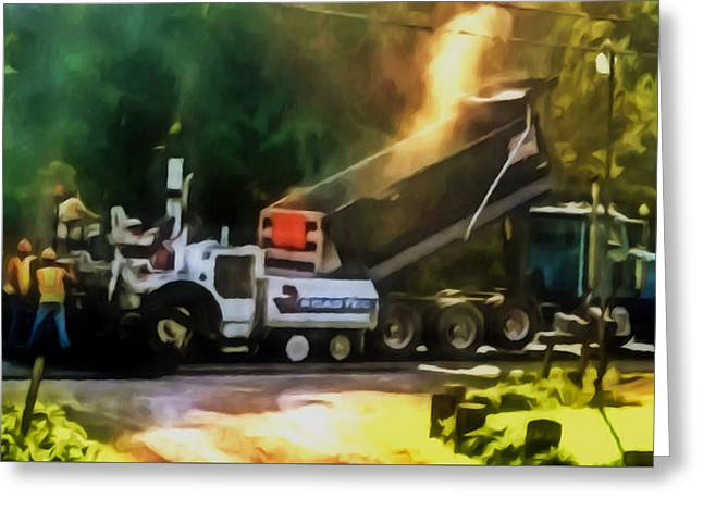 Pavement Machine Laying Fresh Asphalt  On Top Of The Gravel Base During Highway Construction Greeting Card