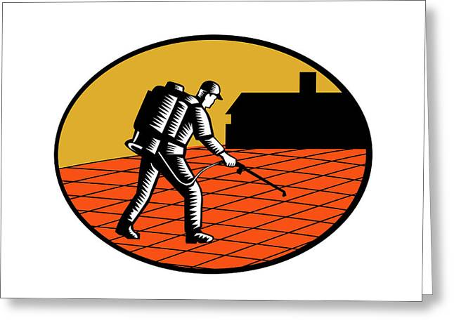 Paver Sealer Contractor House Oval Woodcut Greeting Card by Aloysius Patrimonio