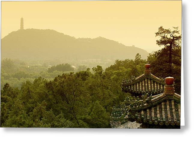 Summer Palace Greeting Cards - Pavilion rooftops and lush foliage as seen from the Summer Palace Greeting Card by Sami Sarkis